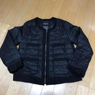 中綿 アウター インナー ノーカラー ブラック ジャケット新品未使用(ノーカラージャケット)