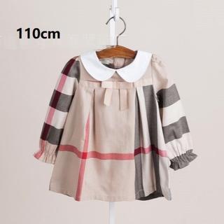即納!海外子供服☆新品 女の子 上品 白襟チェックワンピース110cm(XL)