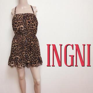イング(INGNI)の爆かわ♪イング レオパード 美くびれフレアワンピース♡エゴイスト マウジー(ミニワンピース)
