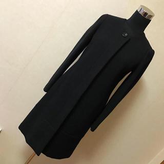 ナチュラルビューティーベーシック(NATURAL BEAUTY BASIC)のNBB ツイード ロングコート 黒 M ノーカラー コート(ロングコート)
