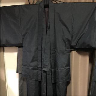美品 大島紬 着物 紺系メンズアンサンブル(裄丈70) (着物)