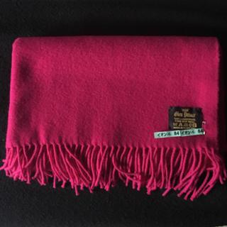 赤紫色 ラムズウール大判ストール  美品 グレンプリンス