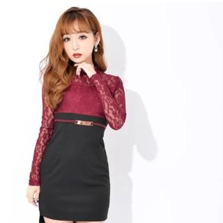 デイジーストア(dazzy store)の新品未使用 dazzy store バイカラー ドレス ワンピース レッド (ミディアムドレス)