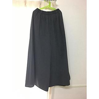 ジーユー(GU)のジーユー ロングスカート ワイドパンツ ガウチョパンツ 紺色(カジュアルパンツ)