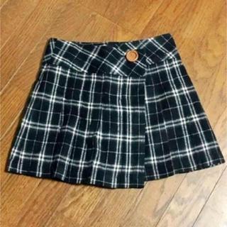 フラワー(flower)の古着 スカート チェックスカート ラップ スカート ブラック系(ミニスカート)