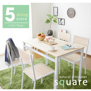 木目調ダイニングテーブルチェア5点セット スクエア型 面取り加工 110cm幅(ダイニングテーブル)