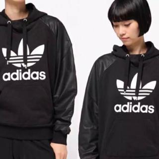 adidas 袖レザー パーカー メンズ レディース ユニセックス