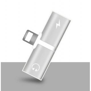 変換アダプター iphone Lightning 2ポート 充電 コネクタ 銀