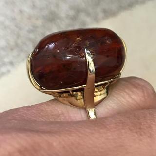 K14 琥珀指輪 磨き上げ済み K14 15号 重さ13.7g (リング(指輪))