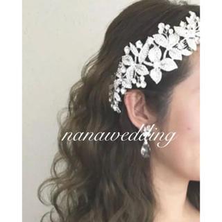 ウエディング ヘッドドレス ビジュー ボンネ 髪飾り フラワー   (ヘッドドレス/ドレス)