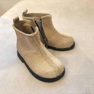 プチバトー(PETIT BATEAU)の【新品未使用】pomd'api  フランス ハラコ ベビー ブーツ ベージュ(ブーツ)
