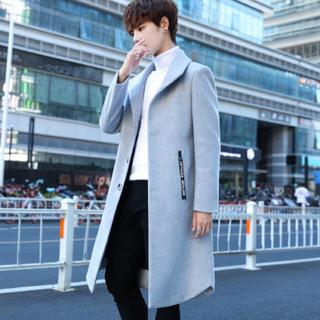 メンズ ロングコート ファッション かっこいい 秋冬 ラシャ 新作 スリム 上着(トレンチコート)