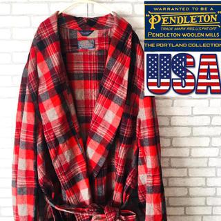 ペンドルトン(PENDLETON)のPENDLETON ペンドルトン ガウン ネルシャツ コート 古着 トレンド(トレンチコート)