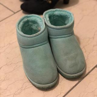 キッズ ムートンブーツ 21cm 水色 ブルー(ブーツ)