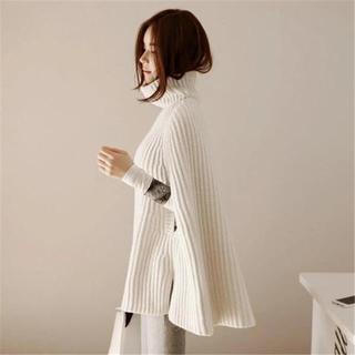 ザラ(ZARA)の☆ 新品 ☆ ホワイト ニットポンチョ セーター ニット ポンチョ (ポンチョ)