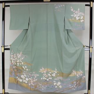 専門店 AB6052 訳有超特価訪問着 155㎝ 白緑系古典草花柄(着物)