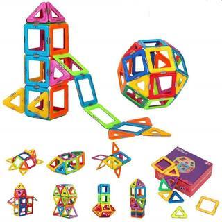 磁石ブロック マグネット3D立体パズル 三角形24個 正方形12個 p16(積み木/ブロック)