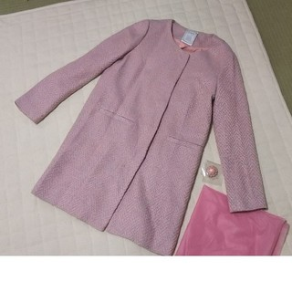 モエリー(MOERY)の美品 良品 着用一回 ピンク 水色 ミックス ツィード  ノーカラー コート (ロングコート)