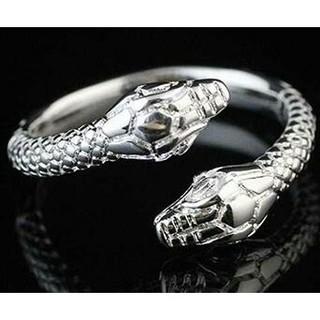 スネーク シルバーリング 指輪 蛇 双頭 開運 金運アップ 風水 メンズ (リング(指輪))