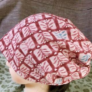 大59 正絹 草木意匠割付暈し キャップ 帽子 室内帽子 シニア(その他)