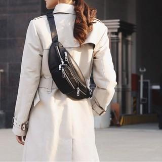 黒 3WAY PU 男女兼用 ボディバッグ ウエストポーチ バッグ  (ボディバッグ/ウエストポーチ)