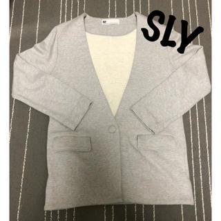 スライ(SLY)のSLY ノーカラー ジャケット グレー アウター ストレッチ シンプル テーラー(ノーカラージャケット)