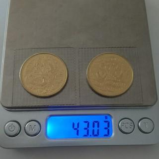 天皇陛下即位60年記念十万円金貨二枚セット■純金20g×2枚■パック入り(貨幣)