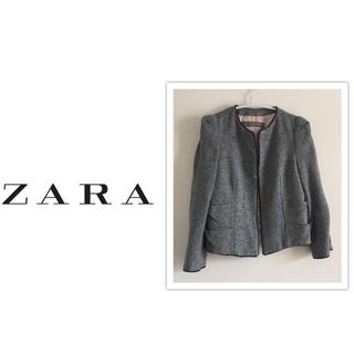 ザラ(ZARA)のZARA  ノーカラージャケット  ハプスリーブ グレー系(ノーカラージャケット)
