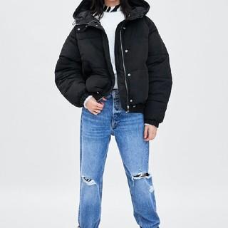 ザラ(ZARA)のZARA フード付きパフダウンジャケット 帽子付きジャケットコート(ダウンジャケット)