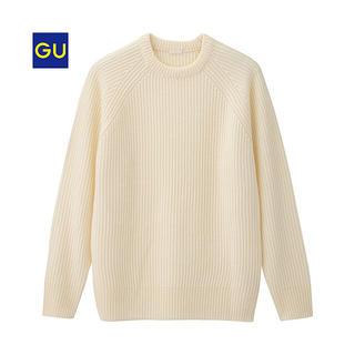 ジーユー(GU)のGU メンズニット ホワイト(ニット/セーター)