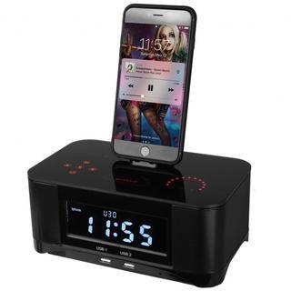 PowerLead デジタル二重アラームFMラジオ付きブルートゥース4.0スピー