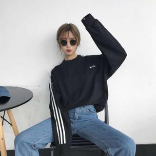 ラクマ最安値!薄手トレーナー レディース ライン ロングTシャツ 黒 韓国(トレーナー/スウェット)
