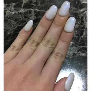 ホワイトパール風ネイル(横爪の方用)(つけ爪/ネイルチップ)