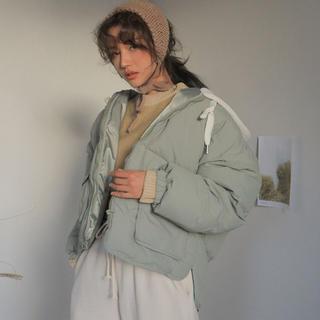 スタイルナンダ(STYLENANDA)の新品ー韓国Stylenanda レイヤード風フード中綿ジャケット 色-ミント(ダウンジャケット)
