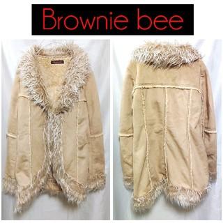 ブラウニービー(Brownie bee)のブラウニービー フェイクムートン コート ベージュ 裏地ファー レディース(ムートンコート)