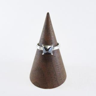 ナイン(NINE)の新品 NINE ナイン シルバー ピンキーリング 指輪 1号 スクエア ブラック(リング(指輪))