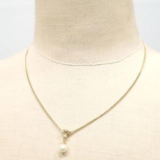 E150 K18 イエローゴールド パールネックレス  ダイヤ 6.1g(ネックレス)