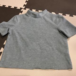 ザラ(ZARA)のZara タートルネック 半袖 クロップ グレー S(ニット/セーター)