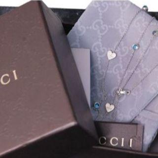 グッチ(Gucci)のGUCCI グッチ ロング ネックレス ブルー トパーズ ハート SV925 (ネックレス)