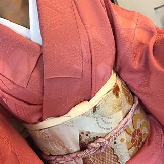 着物 名古屋帯 袷 色無地 ピンク 正絹 アンティーク セット売り(着物)