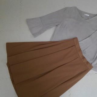 ジーユー(GU)のGUひざたけスカート Lサイズ(ひざ丈スカート)