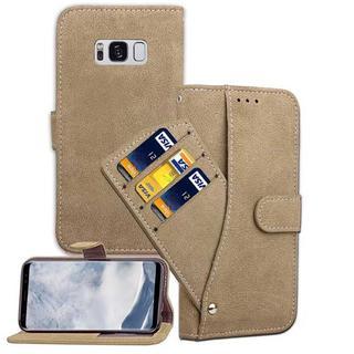 Galaxy S8 カーキ スライドポケット 手帳型ケース