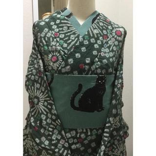 有松絞り 浴衣 緑 モスグリーン (浴衣)