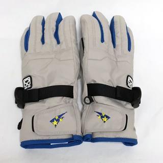 送無!子供用(11~12才)星刺繍手袋 スキー/スノボグローブ アイボリーグレー(手袋)