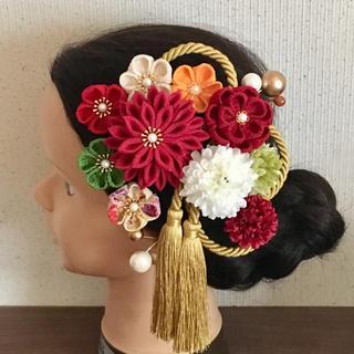 つまみ細工 髪飾り 紅白 赤 金 成人式 結婚式 振袖 色打掛