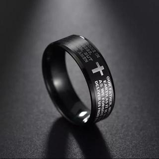 ファッションリング ブラックカラー&クロス(リング(指輪))