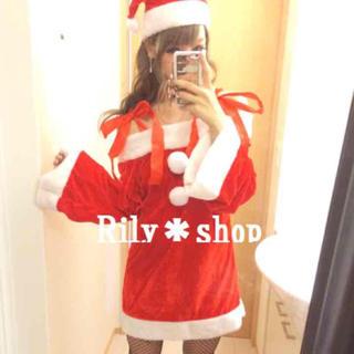 新品未使用 オフショル リボン サンタ ワンピース コスプレ クリスマス 272(衣装)