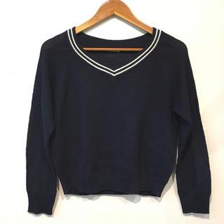 ジーユー(GU)のGU / ジーユー Vネック 襟ラインデザイン ニット ネイビー(ニット/セーター)