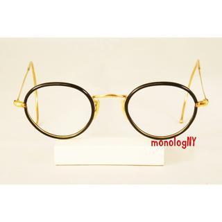 ALGHA 1930s 12KGF&黒セル巻「デッドストック」ビンテージフレーム(サングラス/メガネ)