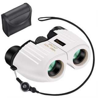 コンパクトで使いやすい!双眼鏡 10倍 10×22 ストラップ付 ホワイト(その他)